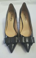 "COACH AND FOUR MARYLOU BLACK 3"" HEEL PUMPS WITH BOW 6.5"