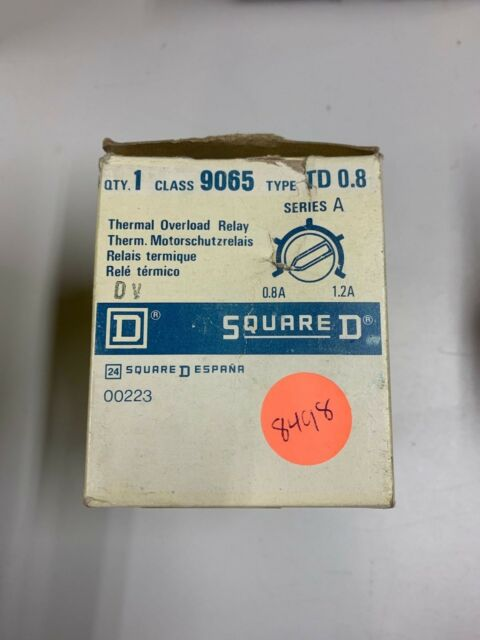 SQUARE D 9065 TD 0.8 OVERLOAD RELAY  W288