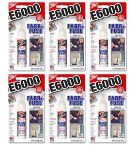 6pk E6000 Fabri-Fuse Stoff Kleber 59.1ml x6 Klar Waschbar Flexibel - Säurefrei
