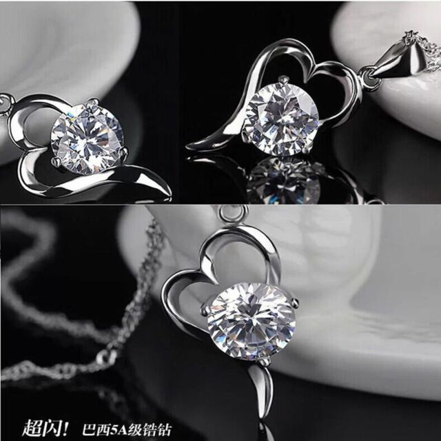Heart Jewelry Sterling 925 Popular Lady Pendant Silver Necklace Crystal