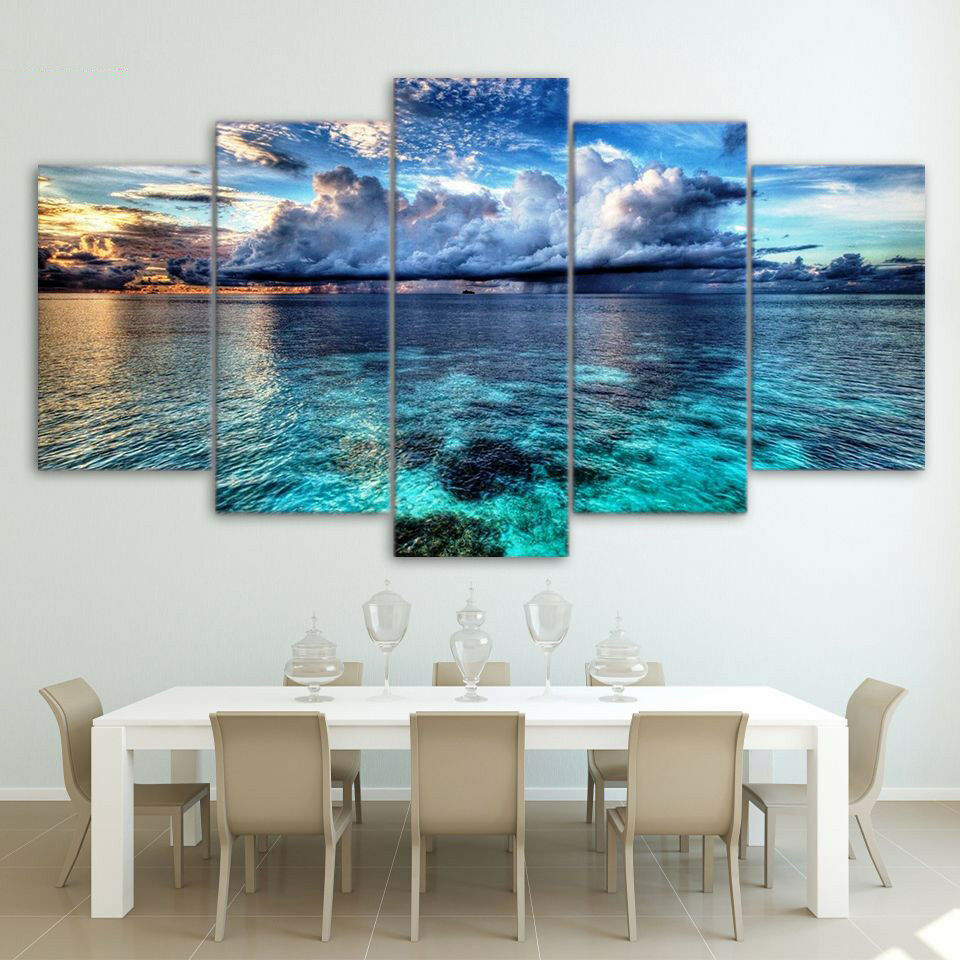 5 Pcs Sea Ocean Clouds Print Canvas Oil Painting Picture Wall Art Home Decor