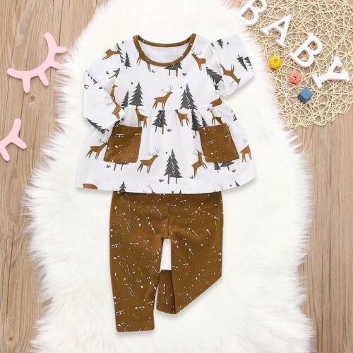 Toddler Baby Girls Long Sleeve Deer Print Tops+Pants Headband Christmas Outfits