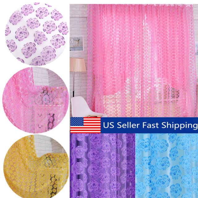 A1ST Floral Tulle Voile Door Window Curtain Drape Panel Sheer Scarf Valances 2 C