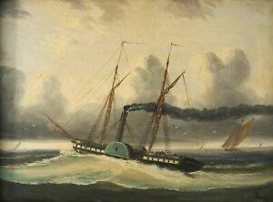Tableau-Peinture-Ancienne-Huile-Original-XIXeme-Bateau-a-Vapeur-Marine-Mer