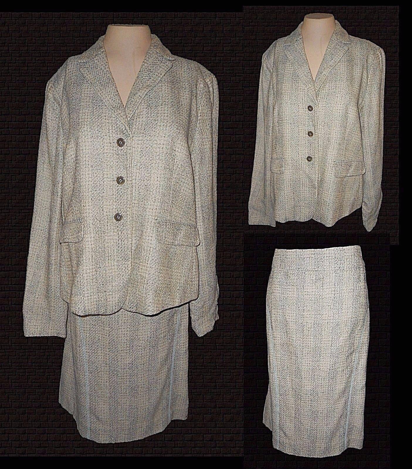 2-PC Suit  Blazer & Skirt, Jones New York, Cotton-Silk-blend Tweed 14