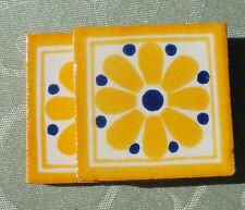 """20~MEXICAN TALAVERA POTTERY 2"""" clay hand made painted Flowers Floral Tiles Tile"""