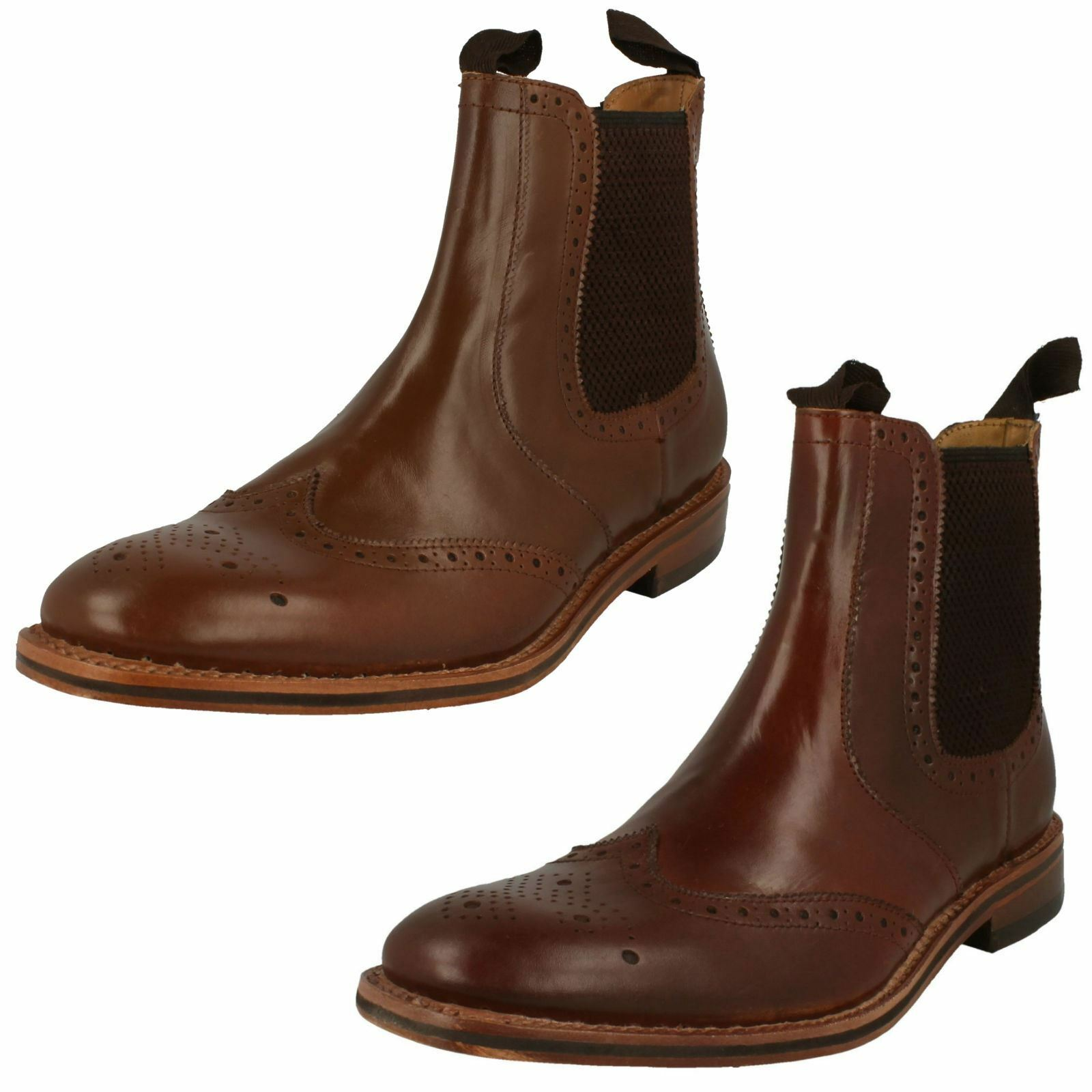 Hommes Catesby Arrondi Orteil intelligent À Enfiler Bottines En Cuir MCATESCW 158 T
