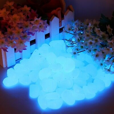 Man-Made Glow in the Dark Pebbles Stone for Garden Walkway Sky Blue 100 pcs