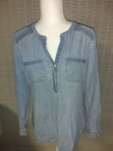 EDDIE-BAUER-Tencel-Shirt-Womens-Sz-Medium-Soft-Denim-Light-Wash-Long-Sleeve-BOHO