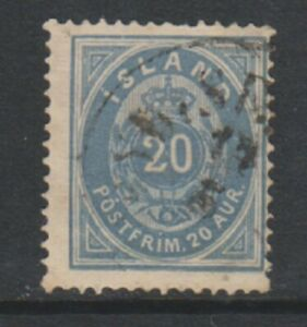 Iceland - 1884, 20a Grey-Blue stamp - Perf 14 x 13 1/2 - Used - SG 22a (c)