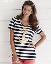SIMPLY BE NAVY STRIPED GOLD ANCHOR SEQUIN BEADED JERSEY TOP BLOUSE PLUS SIZE 32