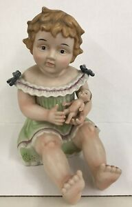 ANTIQUE-HUGE-Bisque-PIANO-BABY-HOLDING-DOLL-Unmarked-German-12-034-Tall