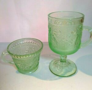Tiara Indiana Glass Chantilly Green Sandwich Pattern Footed Mug & Cup Vintage