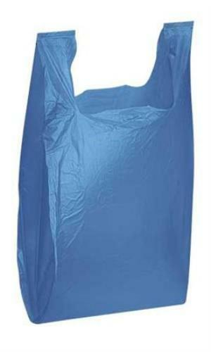 Jumbo T-shirt Bag 18x 7x 32 Plastic Blue 100 Count Perfect for recycling Plastic