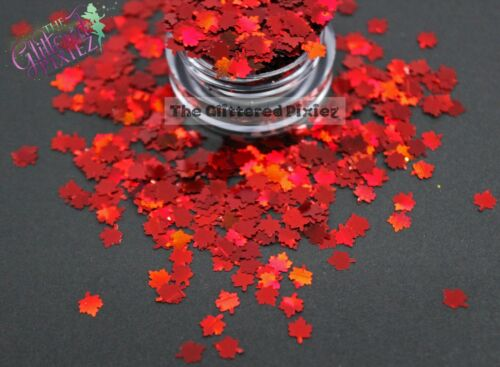 INFERNO Maple Leaf shaped Glitter 4mm for acrylic /& gel nails etc...