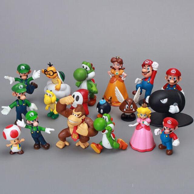 Super Mario Bros Princess Yoshi Luigi Lot 18 pcs Action Figure Cute Toy 1.5~2.5