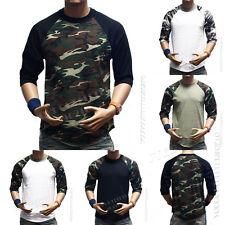 Men 3/4 Sleeve Camo Baseball T-Shirt Raglan Sports Hipster Crew Neck HipsterTee