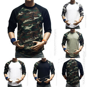 Men-3-4-Sleeve-Camo-Baseball-T-Shirt-Raglan-Sports-Hipster-Crew-Neck-HipsterTee