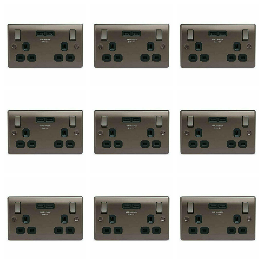9 x BG Nexus NBN22U3B 2 Gang   Twin Switch Socket 13A mit USB 3.1A Schwarzer Nickel