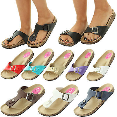 WOMENS LADIES FLAT CORK MOULDED FOOTBED FLIP FLOP BUCKLE SUMMER SANDALS SHOES