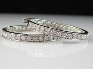 Details About Diamond Hoop Earrings Inside Outside 2 50ctw 14k White Gold 35mm Large 16 6gr