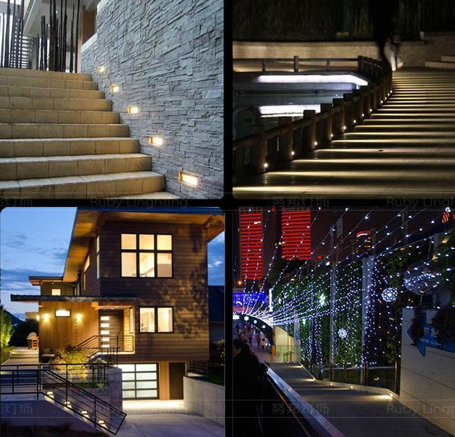 X 1W LED Blanco/Negro Cuadrado pasarela Paso Paso Paso Escaleras pared esquina Lámpara Impermeable e34a3d