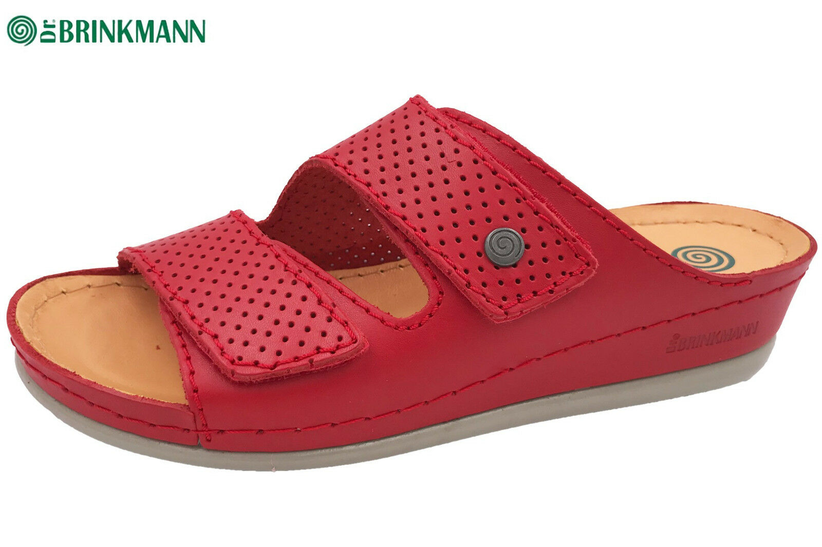Dr. Brinkmann Damen Pantolette Rot Leder Naturform Fußbett NEU 700568-4