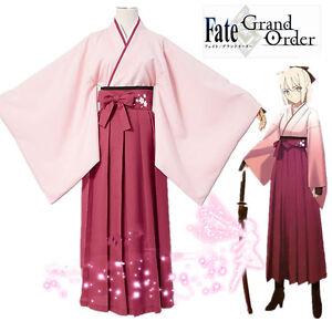 Fate Grand Order Saber Sakura Okita Souji Cosplay costume Kostüm Rosa Kimono Neu