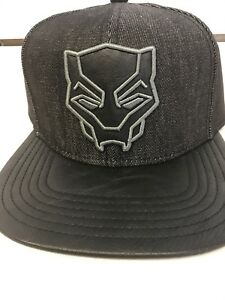 42ee56a4 Details about Marvel Black Panther Logo Hat Faux Leather Bill Snapback  Chambray Cap