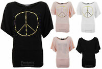 Ladies Half Sleeve Peace Bow Print Batwing Knitted Long T Shirt Womens Top 8-14