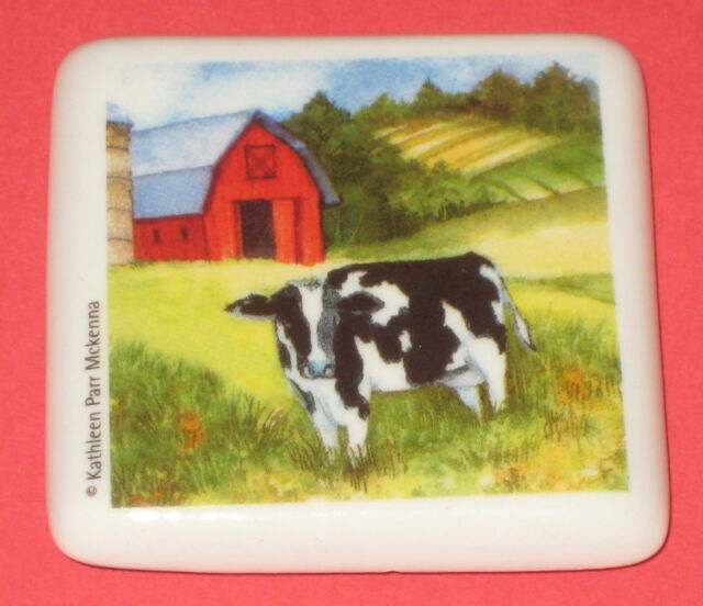 Cow Barn Ceramic Tile Magnet Farm 2 Square Kitchen Refrigerator Moo