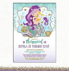 Image Is Loading Little Mermaid Invitation 1st Birthday Invite Purple Teal