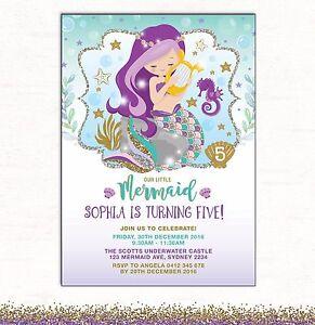 Image is loading Little-Mermaid-Invitation-1st-Birthday-Invite-Purple-Teal-