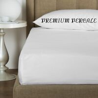1 White King 78x80x9 Percale Fitted Hotel Bed Sheets Premium Hotel Resort on sale