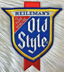 """Vintage 70s HEILEMANS OLD STYLE Beer Brewery Large 8"""" Embroidered Patch Sew On"""