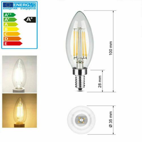 E14 2W 4W 6W LED Edison SES Filament Leuchtmittel Kerze Wind Birne Glühbirne