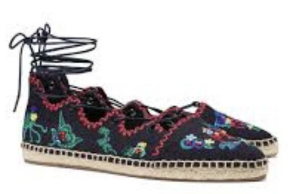 a8c905e5989 NEW Tory Burch Sonoma Embroider Gillie Espadrille Navy Gladiator 7.5 Women  Shoes
