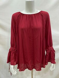 Laurie-Felt-Woven-Blouse-w-Bell-Tie-Sleeve-Detail-Top-Carmine-Red-Medium-Size