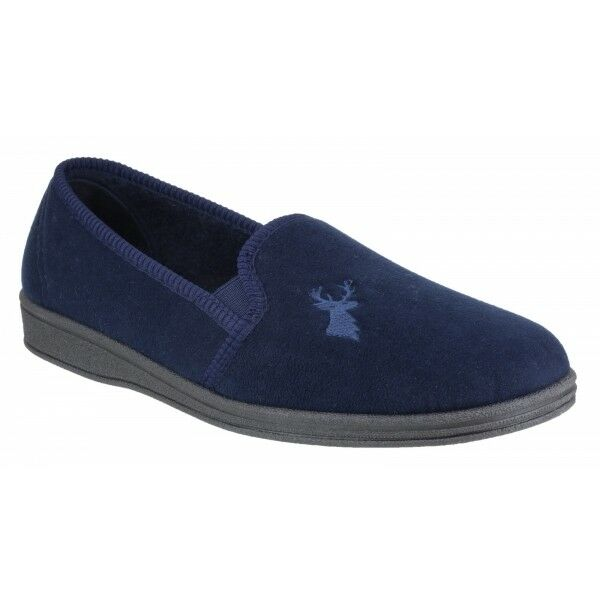 Mirak Hombre Stag Slip-On Stag Textile Embroidered Textile Stag Slipper Navy 5329e9