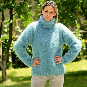 ca6e7dc02b0 Hand Knit Mohair Wool Sweater FUZZY Soft BLUE Dress Pullover by ...