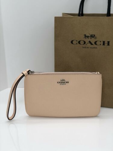NWT New Coach F57465 Crossgrain Leather Large Wristlet Wallet Light Pink $125