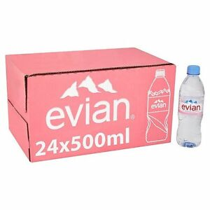 9ec49ab0af Image is loading EVIAN-NATURAL-MINERAL-WATER-500ml-x-24-BOTTLES-