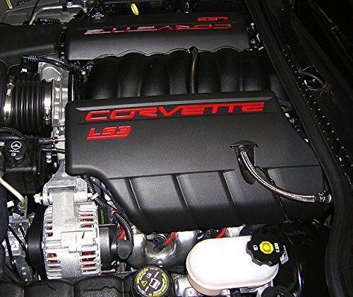 2008-2013 Corvette C6 LS3 Fuel Rail Engine Covers Black w// Red Lettering OEM GM