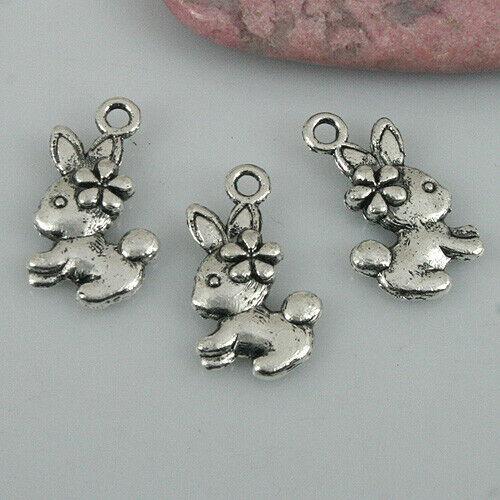 40pcs tibetan silver color cute rabbit design charms EF0497