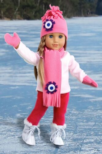 Winter 18 inch Doll Clothes Ice Skating Fun Blouse Leggings Hat Scarf Mittens