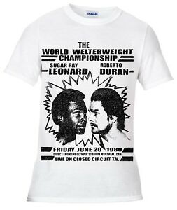 Boxing-t-shirt-Sugar-Ray-Leonard-v-Roberto-Duran-training-sport-welterweight
