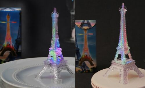 """Eiffel Tower Replica- SET of 2; 10"""" high & 5"""" high; Lights up w/changing colors"""