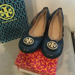 368f42be1c08 Image is loading NIB-Tory-Burch-Caroline-2-Ballet-Flat-Navy-