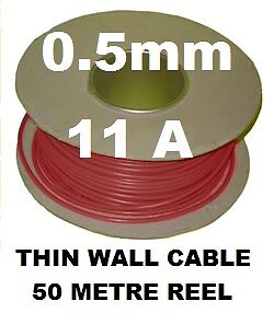 50M AUTO CABLE REEL 0.5MM THINWALL 11A VEHICLE CAR BOAT WIRE 11 AMP AUTOMOTIVE