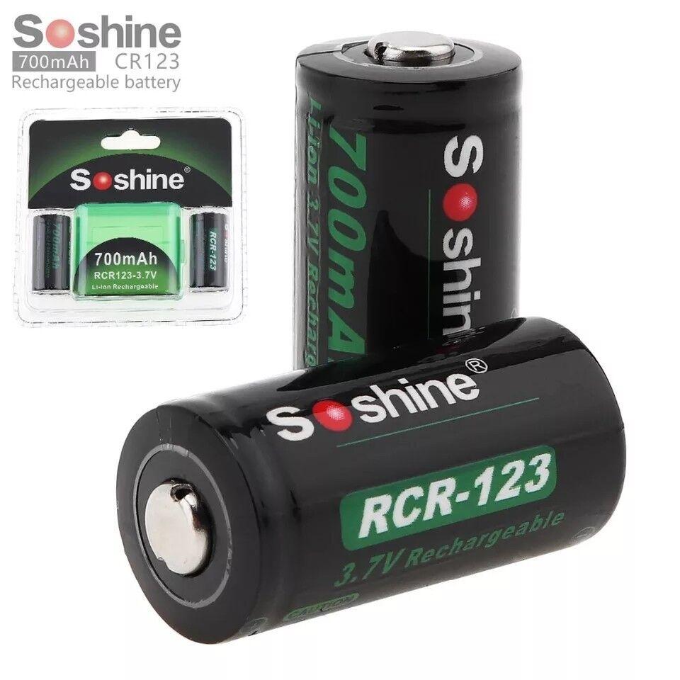 2pcs High Quality RCR 123 16340 700mAh 3.7V Li-ion Rechargeable Battery + Box